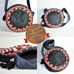 Mirror Work In Circle Round Black Bag