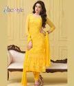 Melodic Yellow Chiffon Straight Cut Salwar Kameez