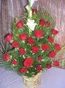 25 Red Roses + 1gladulie+2cycus/palm Basket 274-4