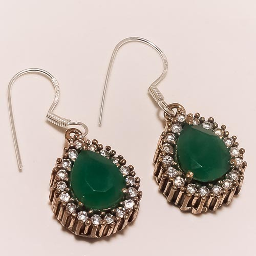 Sterling Silver Imported 925 Emerald Earring