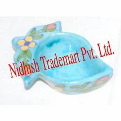 Decorative Blue Pottery Diya