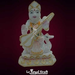 White Alabaster Marble Saraswati Idol