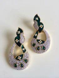 Light Weight Green Moti Earrings