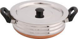 White Polished Copper Bottom Cooking Pot, for Home, Size: Regular