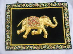 Zari Embroidery Elephant Wall Hanging