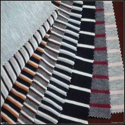 Blended Striped Polyester Cotton Fabric, For Garments, 180-240 Gram