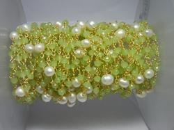 Green Chalcedony Beaded Chain With Pearl Bead