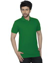 Cotton Plain Green Polo T-Shirt