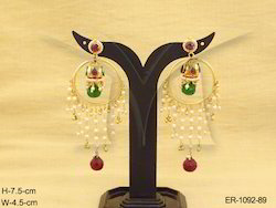 Moti Drop Bali Long Saree Polki Earrings