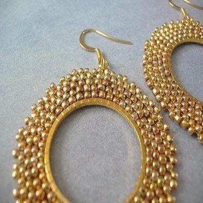 Gold Beaded Earring