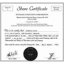 sample share certificate