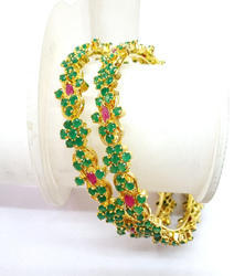 jewelry bangles and siara gold ruby stone designs designer pink designers platted bracelet zoom buy green