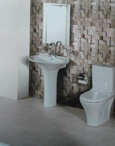 Modern master bathroom with exterior glass wall and glass for Bathroom tiles india designs