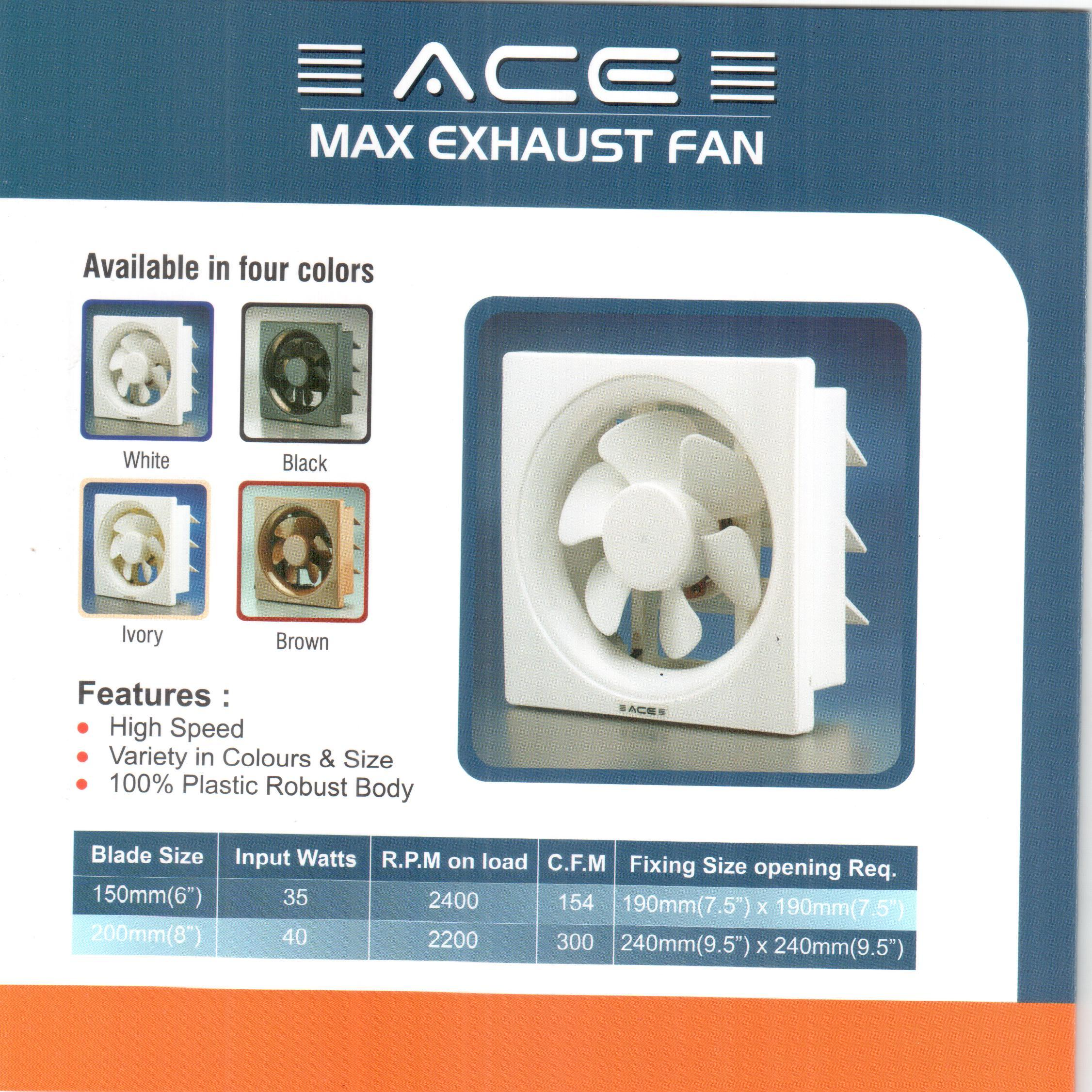 Ace Max Ventilation Exhaust Fan For Home And Commercial Rs 900 Piece Id 8790182655