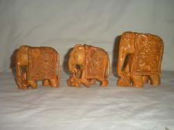 Sandalwood Carved Elephants