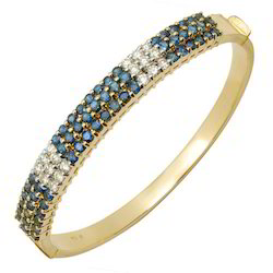 Blue Sapphire Diamond Gold Bangle