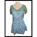 White And Blue Cotton Block Printed Garments