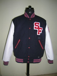 Knit Collar  Letterman Jersey