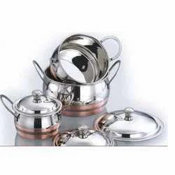 White Non Stick Copper Bottom Cooking Pot, for Home, Size: Regular