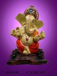 Glossy Finish Fiber Ganesh Statue, Table, Temple, Model Number: S/139