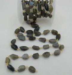 Faceted Labradorite Nugget Bead Chain & Rosary Labradorite