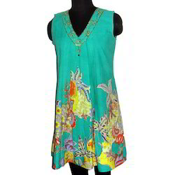 V Neck Sleeveless Long Kurta
