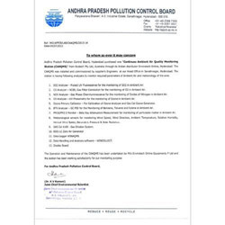 Andhra Pradesh pollution Control Board Certificate