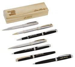 Personalized Designer Metal Pens & Wooden Boxes