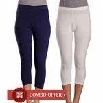 Soft Wear Fabulous Navy Blue & White Women's Capri Combo