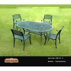antique victorian cast aluminum garden chair set