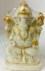 High Quality Lord Ganesh White Radium Statue Show Piece Idol