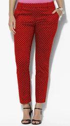 Lycra Cotton JACQUARD Ladies Polka Dot Pants, 30.0