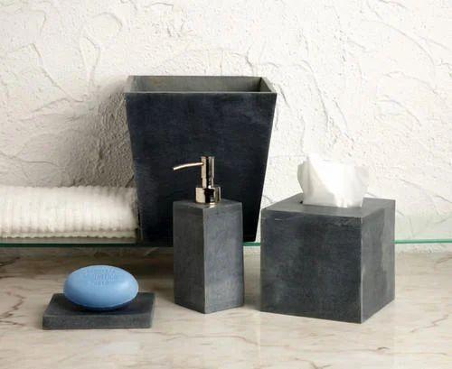 Black marble soapstone bathroom set stone craft india - Black marble bathroom accessories ...