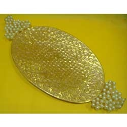 Golden Metal Tray  ( PL - RHF - 31 )