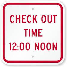 Checkout Time - 12 Noon