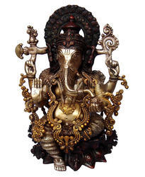 Blessing Lord Ganesha Sitting on Lotus Decorative Simple Brass Statue By Aakrati