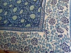 Hand Block Printed Flower dOUBLE Bed Sheet