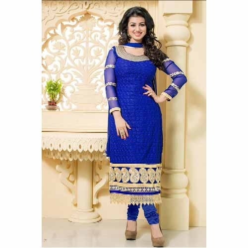 Ladies Neck Design Salwar Suit Blue Neck Design Salwar Suit Manufacturer From Surat