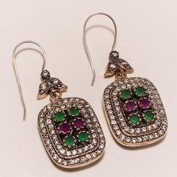Sterling Silver Imitation Ruby,Emerald And CZ Earring