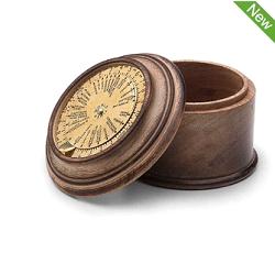 Brown Sheesham Wood & Brass World Timer