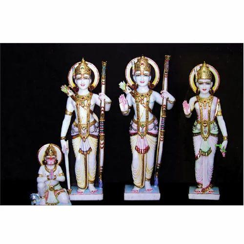 Ram Darbar Ram Darbar With Hanuman In White Marble