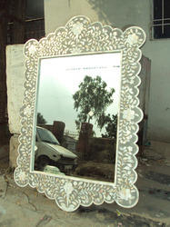 Vinayak Art School Grey Mother Of Pearl Inlay Arched Mirror Frame