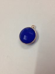 Blue Chalcedony Sterling Silver Bezel Gemstone Connectors