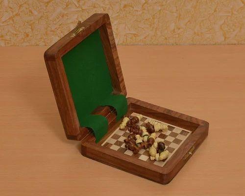 "5-1//4/"" CHESSBAZAAR Travel Series Wooden Magnetic Chess Set in Sheesham Wood"