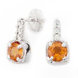Orange Sapphire Diamond Earrings