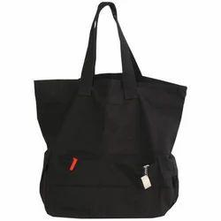 Black Cotton Fancy Boat Bag, Size: 13 X 16 + 7 Bg