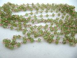Peridot Wire Wrapped Beaded Rosary Chain