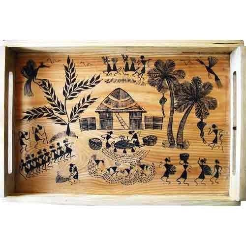 Warli Art On Gift Items - Warli Painting on Tray ...