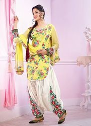 Yellow Flower Print Patiala Suit