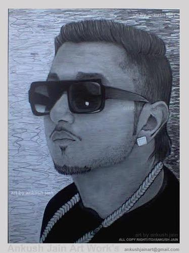 Celebrity honey singh pencil sketch